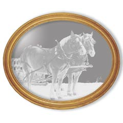 Etched Glass Draft Horses